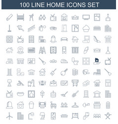 100 home icons vector image