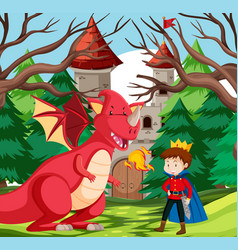 a king and dragon at castle vector image