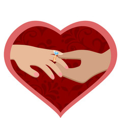 A man s hand puts an engagement ring on a woman s vector
