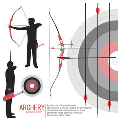 Archery sport silhouettes vector