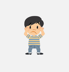 Asian boy in jeans scared vector