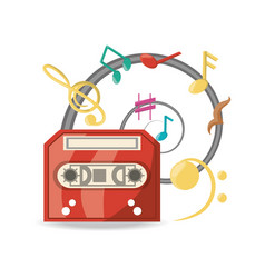 Audio tape player with musical notes vector