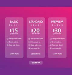 banner for tariffs set of pricing table vector image