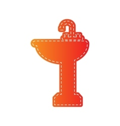 Bathroom sink sign Orange applique isolated vector image