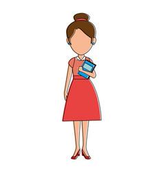 beautiful teacher female with books avatar vector image