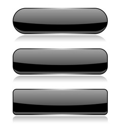 Black glass buttons on white background vector
