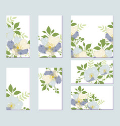 botanic card with wild flowers leaves vector image