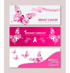 Breast cancer awareness butterfly ribbon banners vector