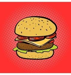 Burger comic book style pop art vector