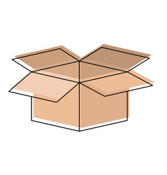 cardboard box opened in watercolor silhouette vector image