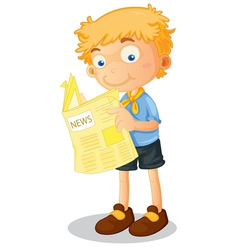 Cartoon Boy Reading Newspaper vector image