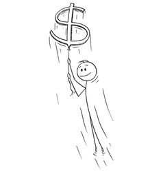 cartoon man or businessman holding rope big vector image