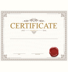 Certificate or diploma template design with seal vector