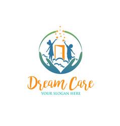 Child dream care logo designs for education vector