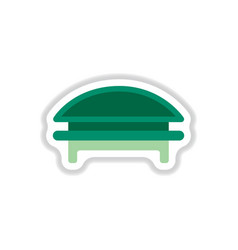 Circular park bench in paper sticker style vector