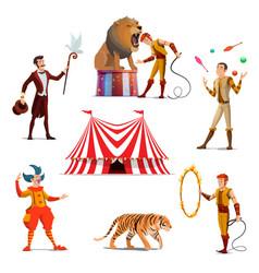 Circus big tent trainer magician clown juggler vector