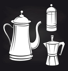 Coffee pot stickers on blackboard background vector