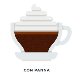 con panna coffee flat isolated vector image