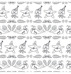 cute black and white nautical repeat print vector image