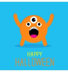 Cute cartoon orange monster Happy Halloween card vector