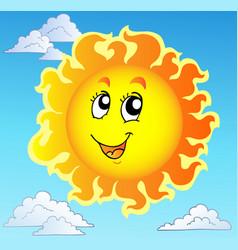 cute happy sun on blue sky vector image