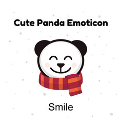 Cute head baby panda bear smiles on a white vector