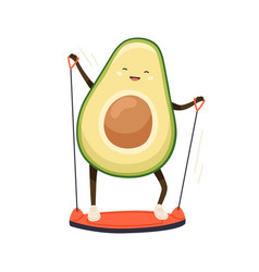 Cute strong avocado training its muscles vector