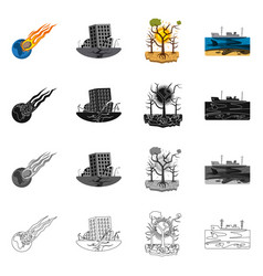 design of natural and disaster sign set of vector image