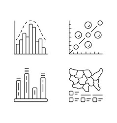 Diagrams linear icons set histogram bar graph vector