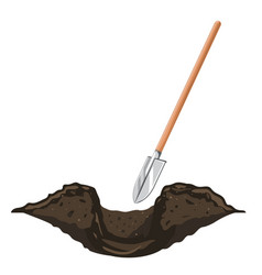 Digging hole in ground with shovel isolated vector