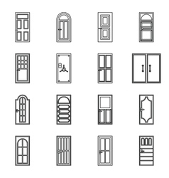 Door icons set outline style vector image