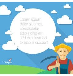 Farmer with speech bubble flat design concept vector image
