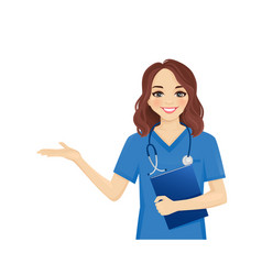 Female woman nurse character set vector