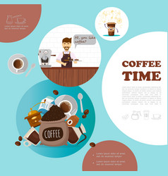 flat coffee elements template vector image