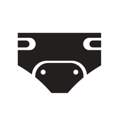 Flat icon in black and white style diapers vector