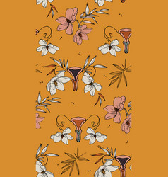 floral vagina retro vloom pattern seamless funny vector image