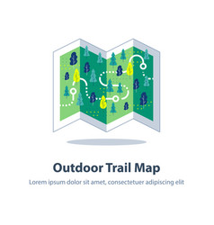 Folded hiking map forest trail orienteering game vector
