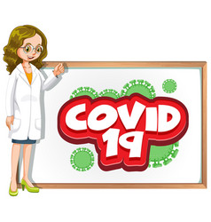 Font design for word covid 19 with doctor and vector