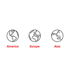 globe america europe asia thin line editable vector image