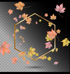 gold frame with flying leaves vector image