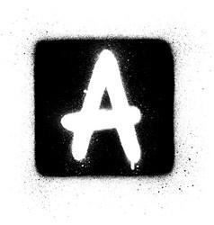 graffiti a font sprayed in white over black square vector image