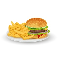 Hamburger on plate vector