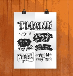 hand draw lettering thank you- poster one wood vector image