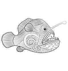 hand drawn creepy fish with high details vector image