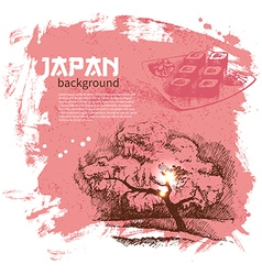 Hand drawn vintage japanese sushi background vector