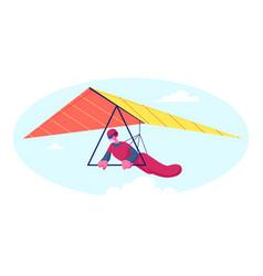 Hang glider in helmet and uniform soaring thermal vector