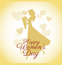 Happy womens day card-silhouette girl yellow vector