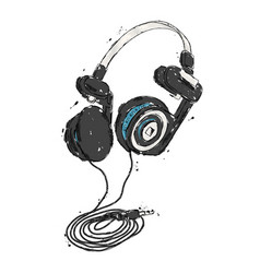 headphones hand drawn vector image vector image