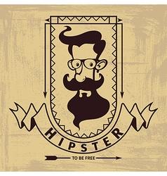 hipster head emblem vector image