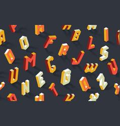 isometric alphabet abc seamless pattern vector image